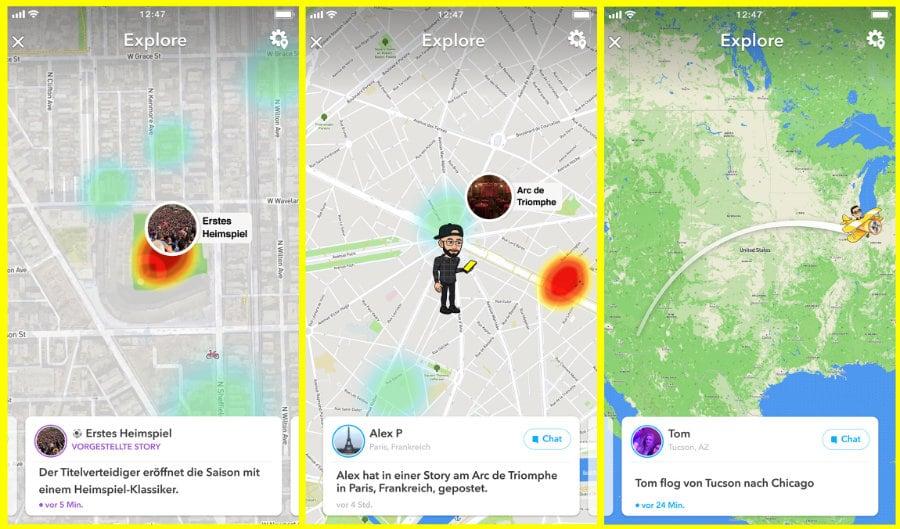 neue Snapchat-Update-Karte