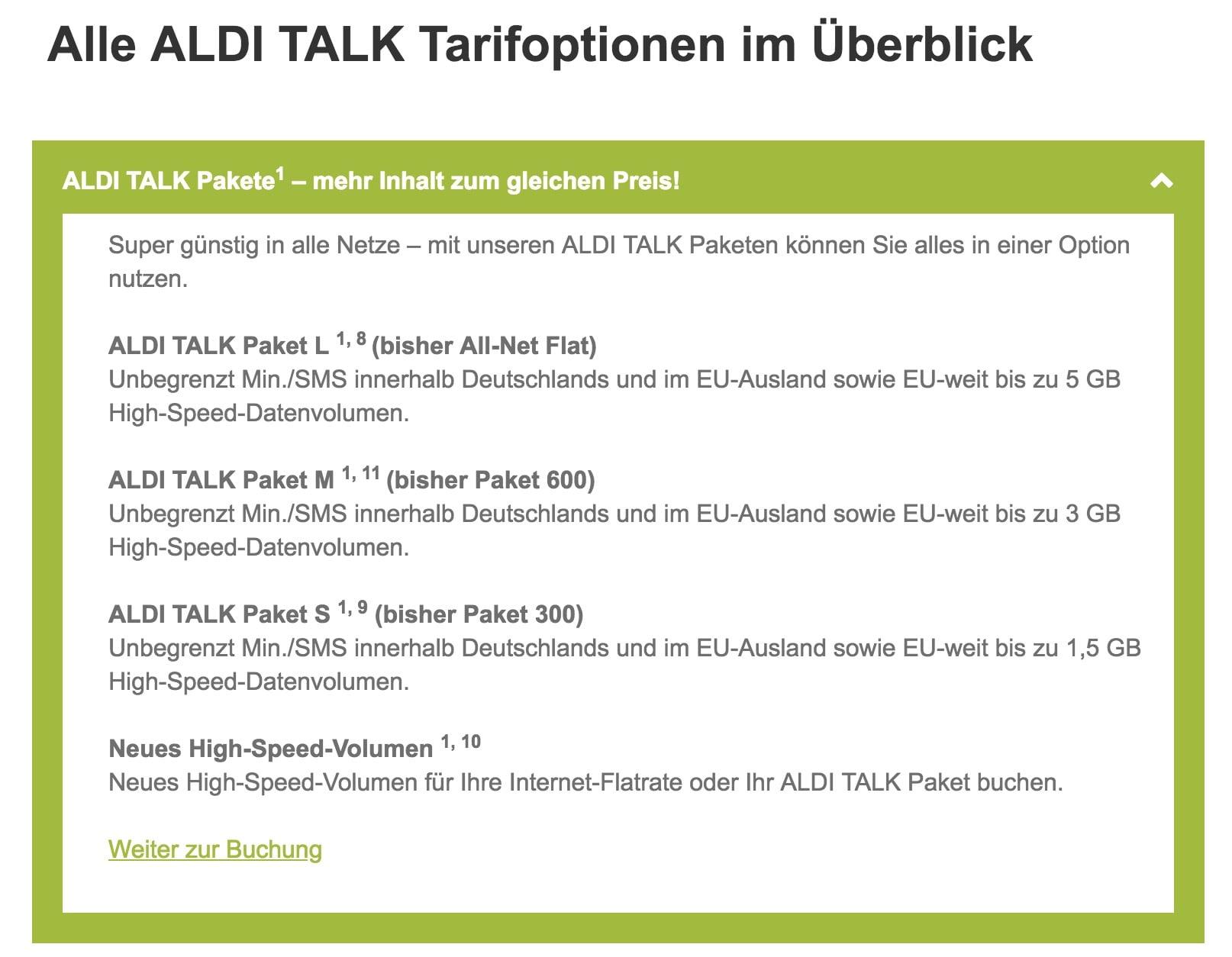 Neues Prepaid-Paket: Aldi Talk: Allnet-Flats für mehr Tarife - ab 8 Euro für 4 Wochen