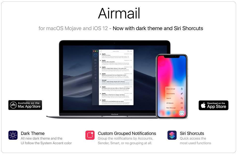 Airmail für macOS und iOS: Dark Theme, Siri Shortcuts und mehr