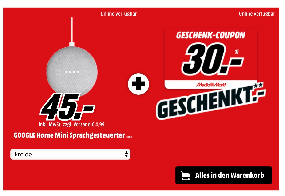 media markt google home 30 euro geschenk coupon f r 45 euro. Black Bedroom Furniture Sets. Home Design Ideas