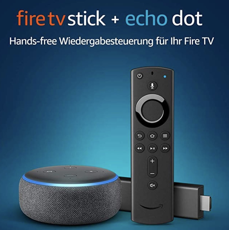 fire tv stick mit alexa sprachfernbedienung und echo dot. Black Bedroom Furniture Sets. Home Design Ideas
