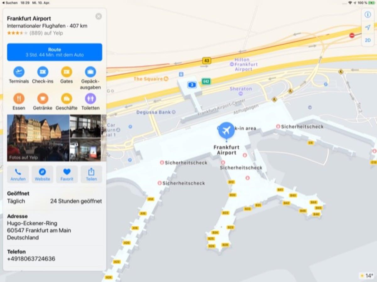 Apple Karten Erganzt Indoor Karten Fur Frankfurter Flughafen
