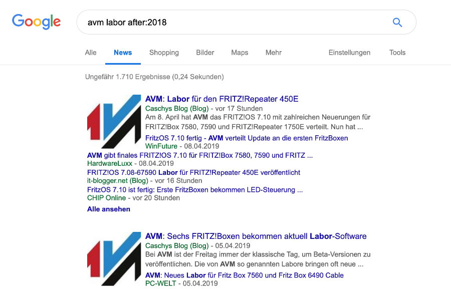 Google Suche Zeitraum