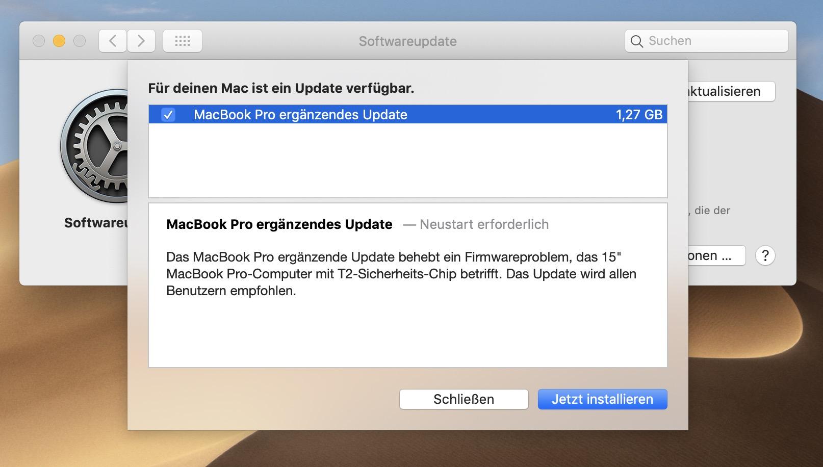 Apple macOS Mojave 10.14.5: Ergänzendes Update für MacBook Pro 2018 und 2019