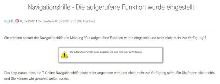 Telekom Navigationshilfe