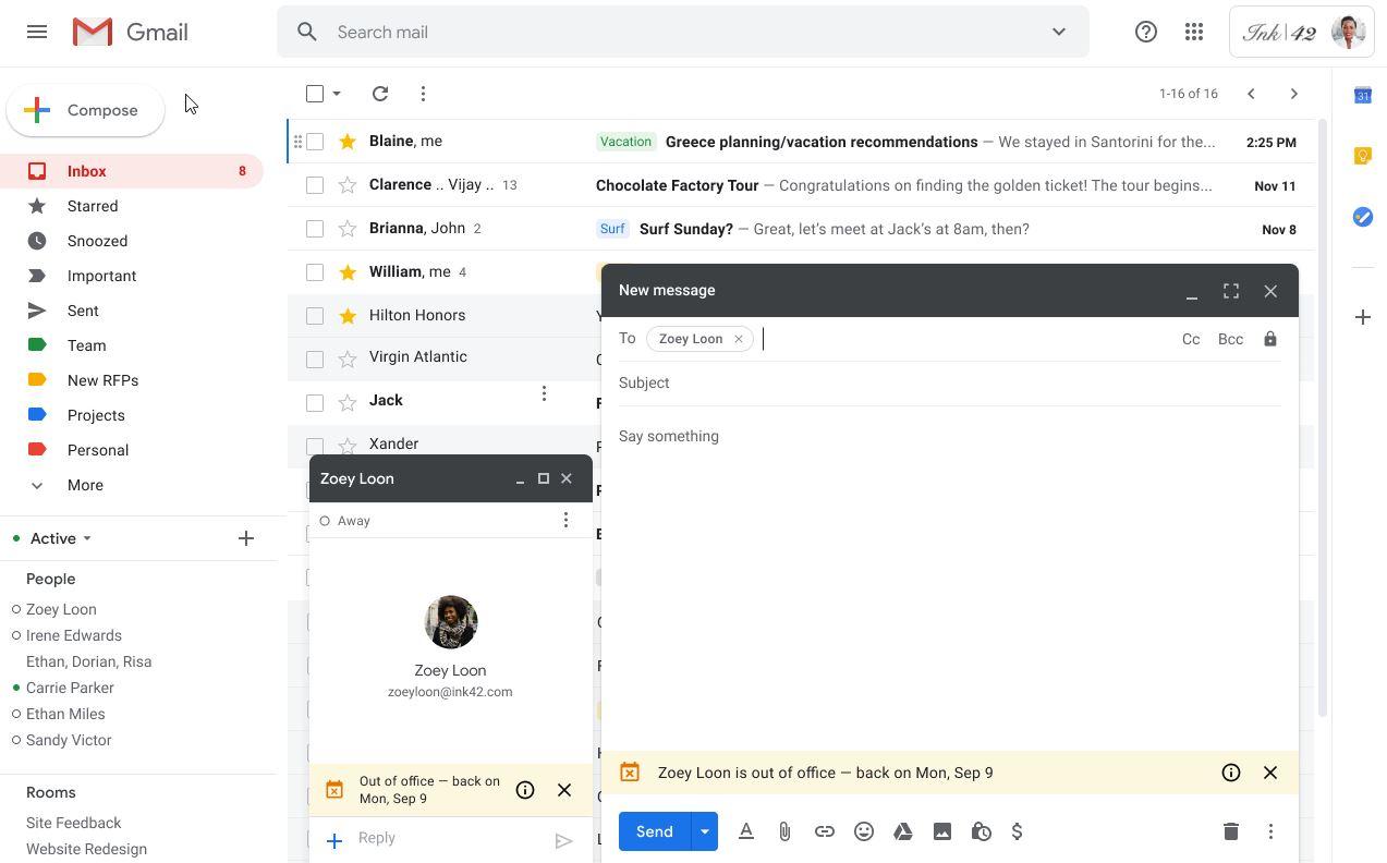 G Suite: Gmail und Hangouts zeigen an, wenn jemand nicht im Büro ist