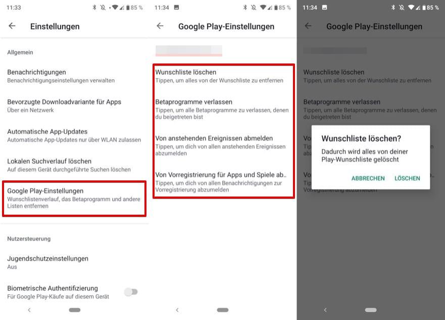 Google Play Wunschliste
