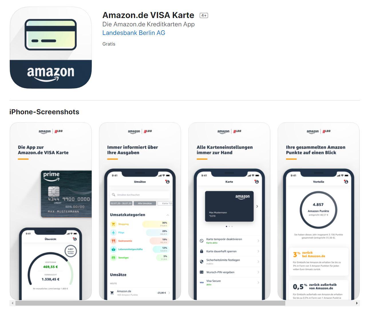 Amazon Visa: iOS-App ist ab sofort verfügbar