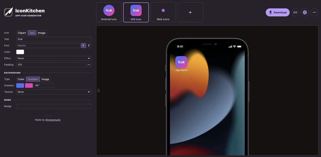 IconKitchen: Webbasierter Icon-Generator